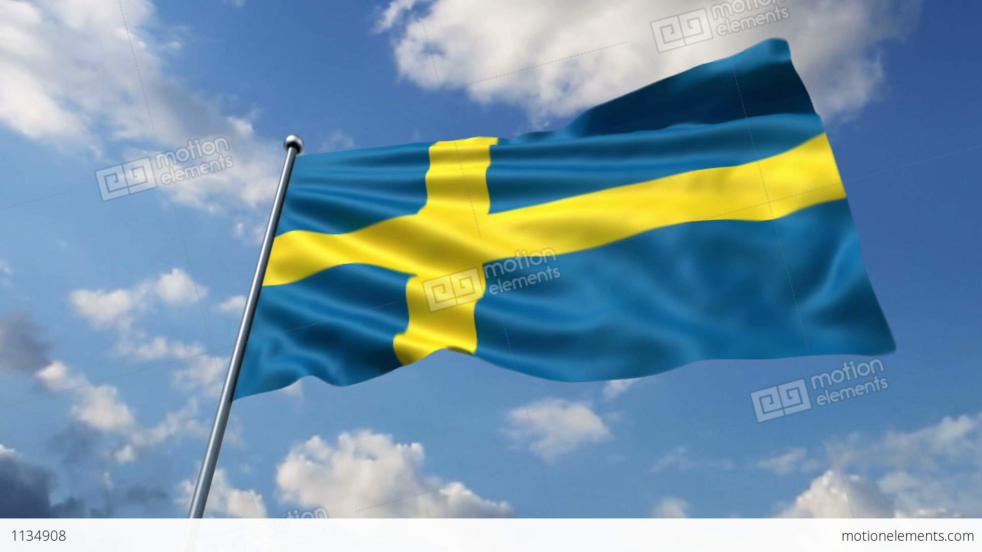 Swedish flag waving against time-lapse clouds background Stock Video ...