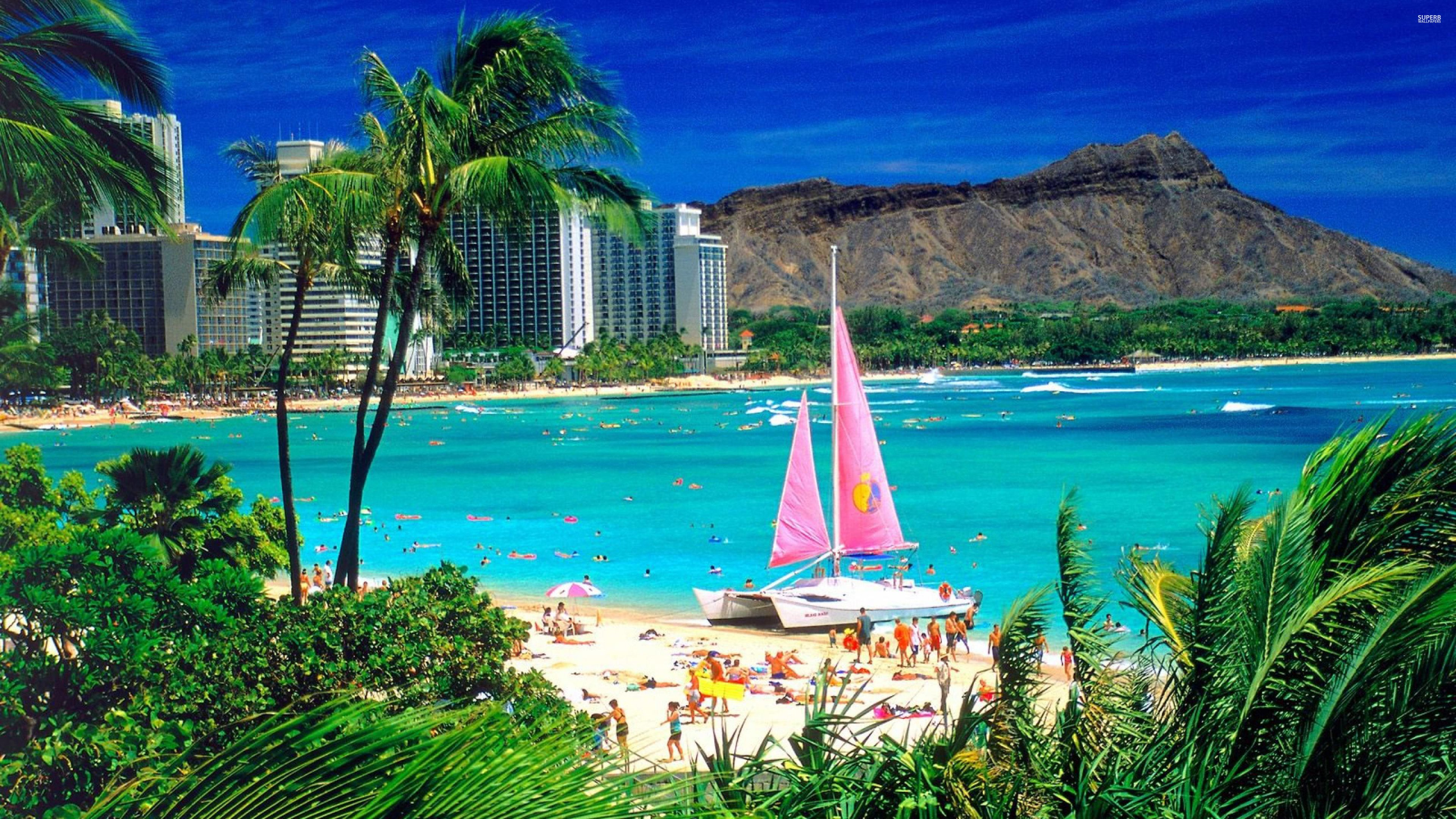 Waikiki-beach-1840-3840x2160 wallpaper | 3840x2160 | 317541 ...