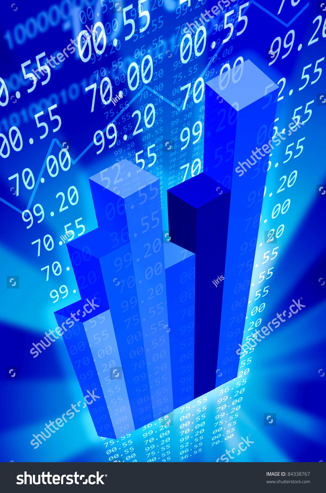Blue Economy Background With Graphs And Numbers. Stock Photo 84338767 ...