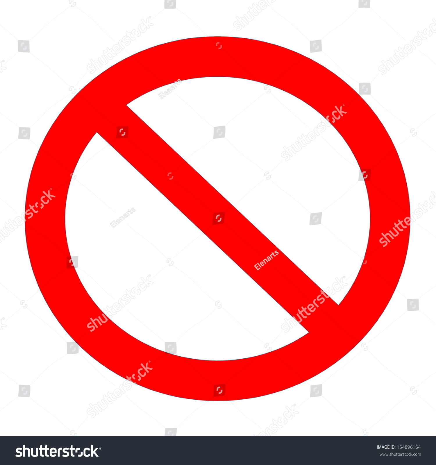 Red Not Allowed Sign In White Background Stock Photo 154896164 ...