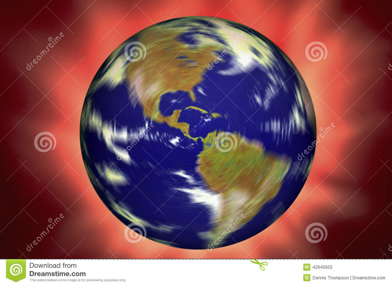 Spinning World Globe on Red Background.