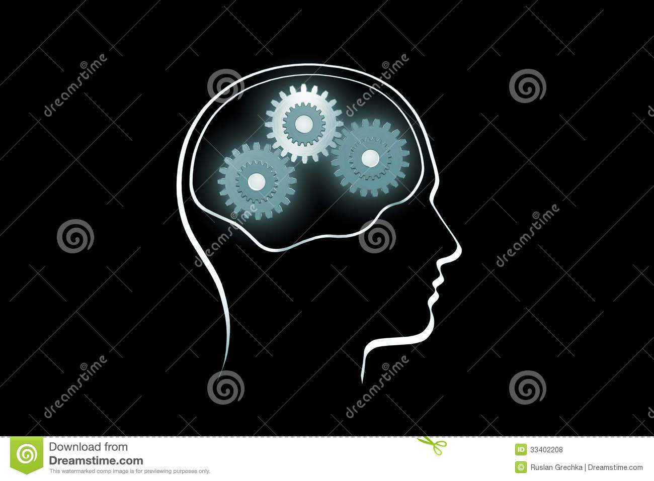 The contour of a human head on a dark background.Rotate the gears (the ...