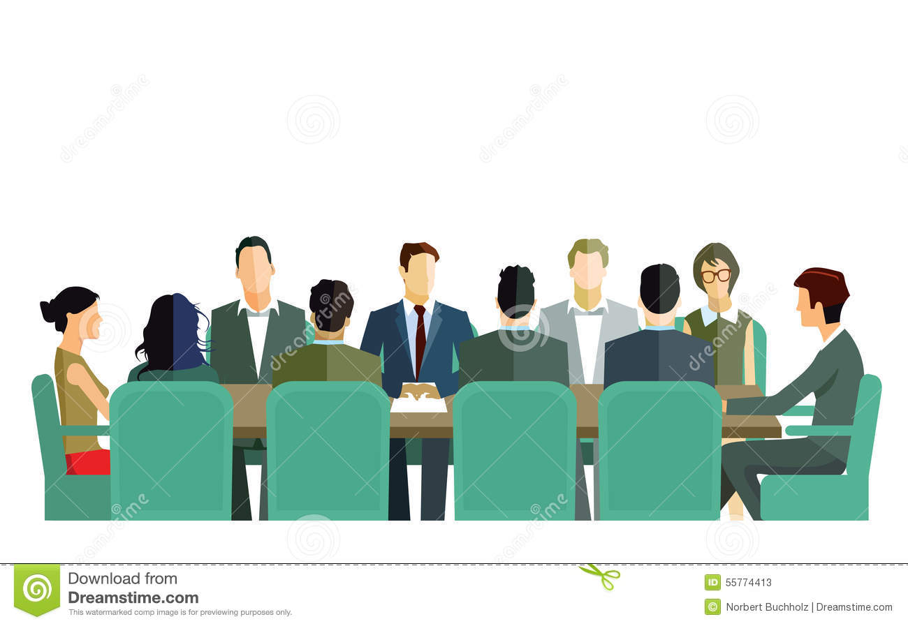 ... business people meeting around a conference table on white background