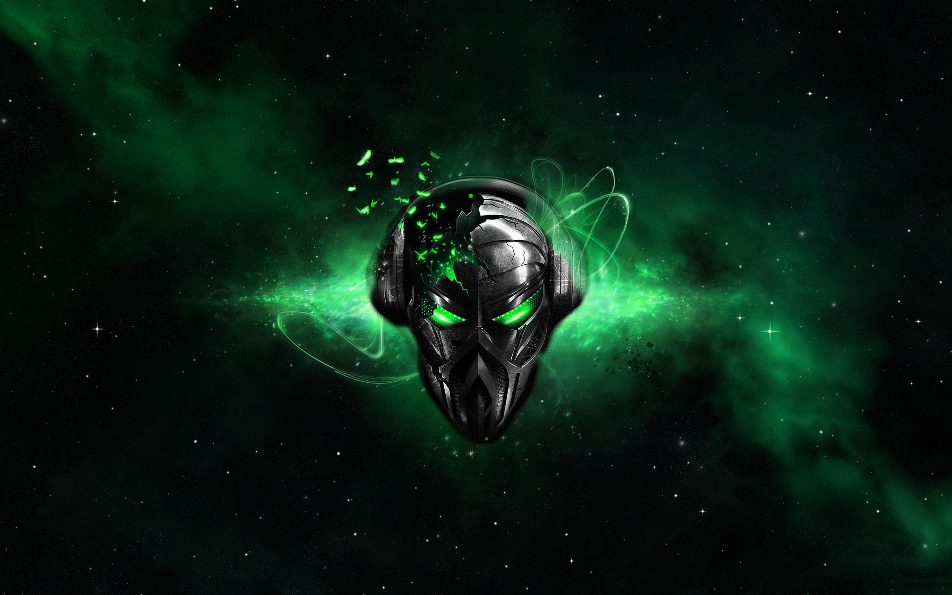 Alienware Desktop Background Alien Head Green Destruction Destroyed ...