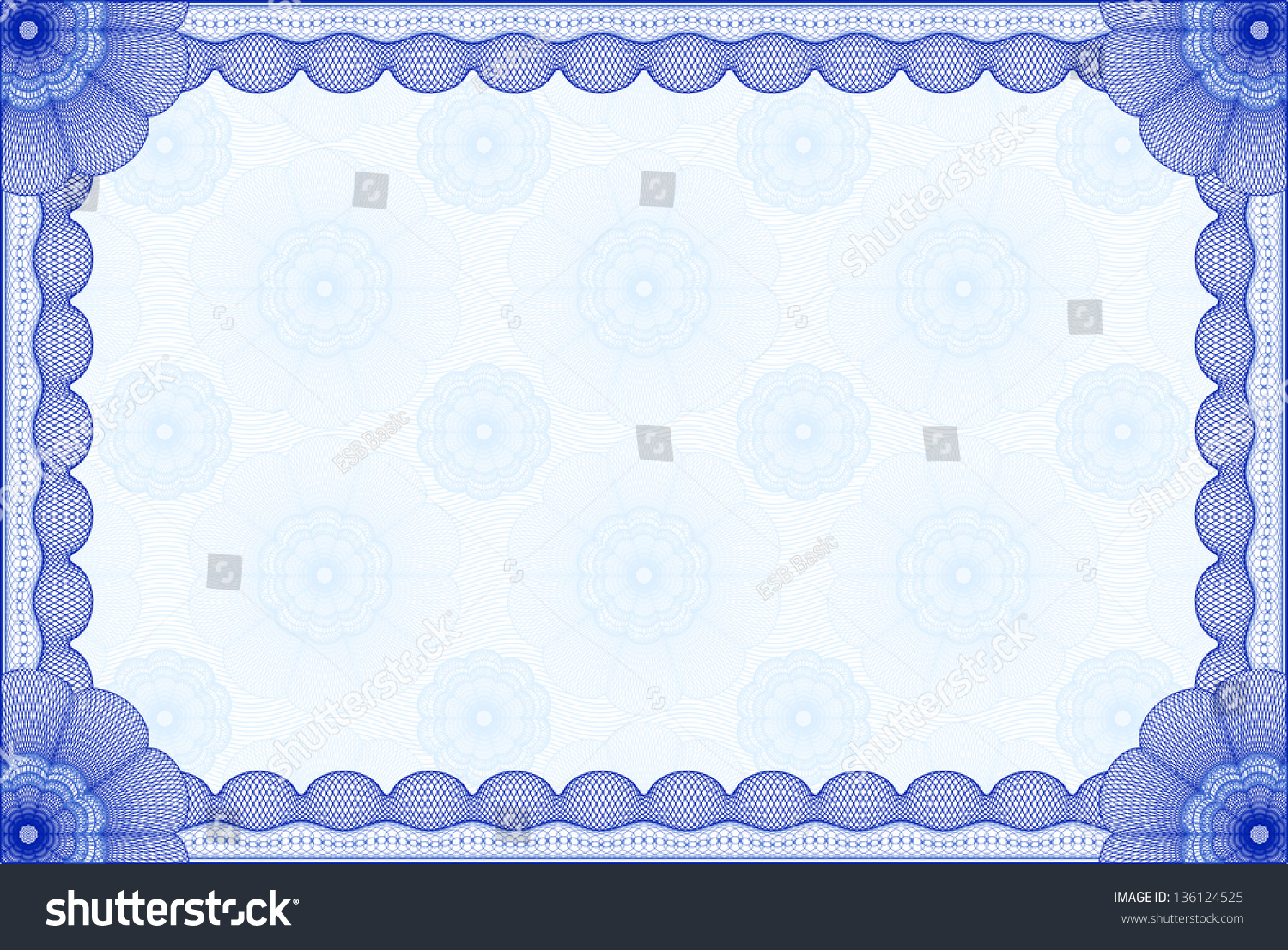 Blue Certificate Template With Background. Complex Design Stock Vector ...