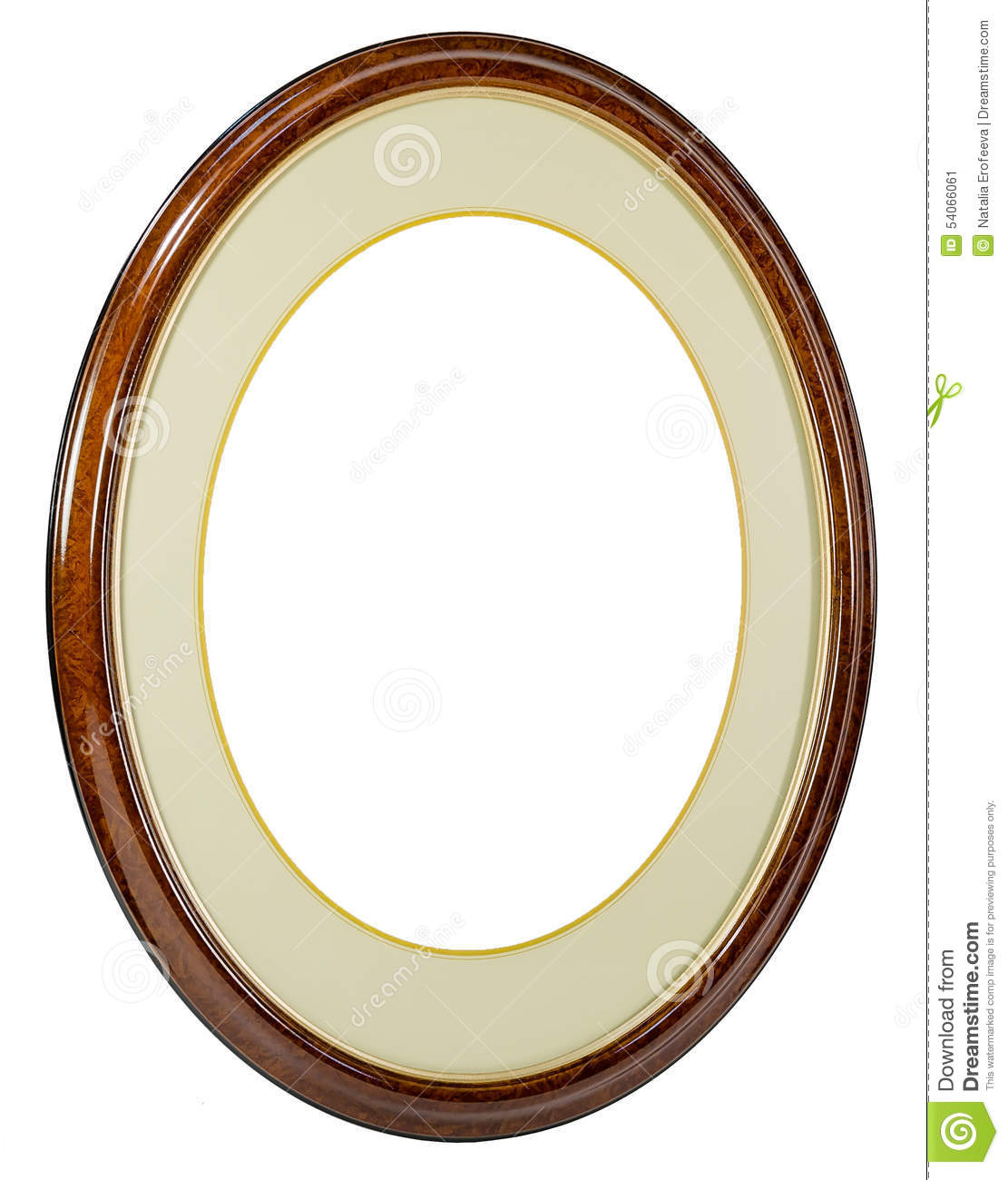 Wooden Oval Frame Isolated Background Stock Photo - Image: 54066061