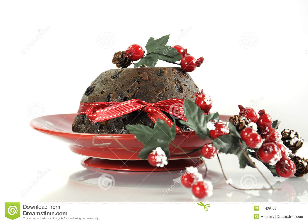 ... style Christmas Plum Pudding dessert on white table background