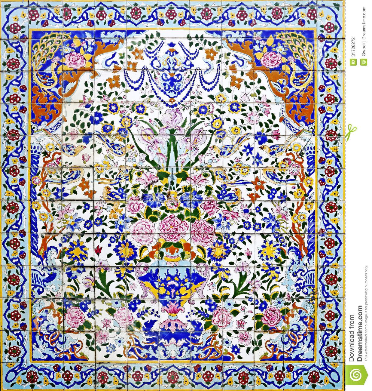 Exotic ancient Persian wall tiles for textural background
