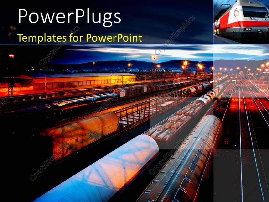 PowerPoint Template Displaying Freight Station with the Trains with ...