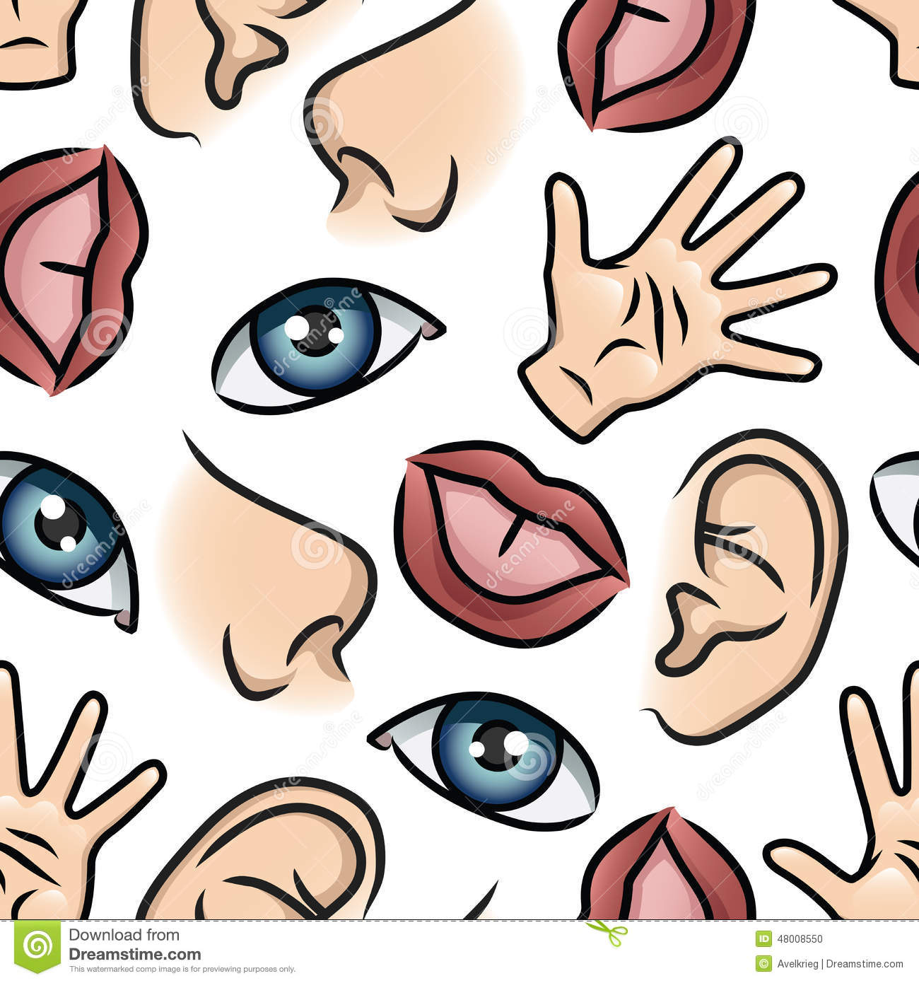 Five Senses Wallpaper Stock Vector - Image: 48008550
