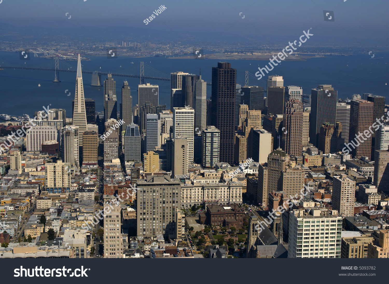Downtown San Francisco And Bay Bridge (Oakland Port In The Background ...