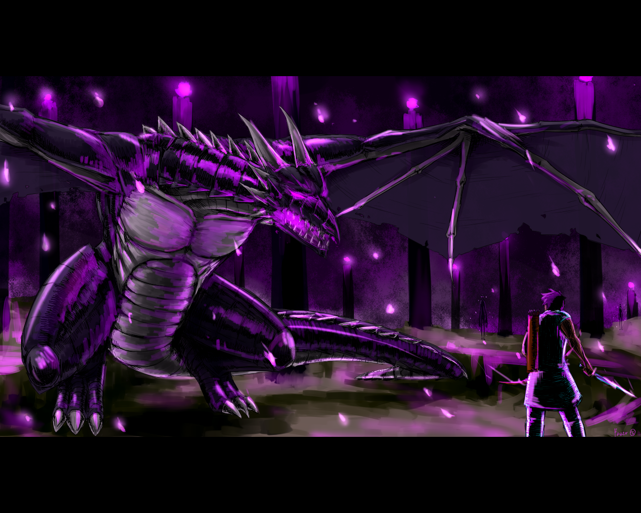 This is drawing about the battle of Enderdragon and Steve.