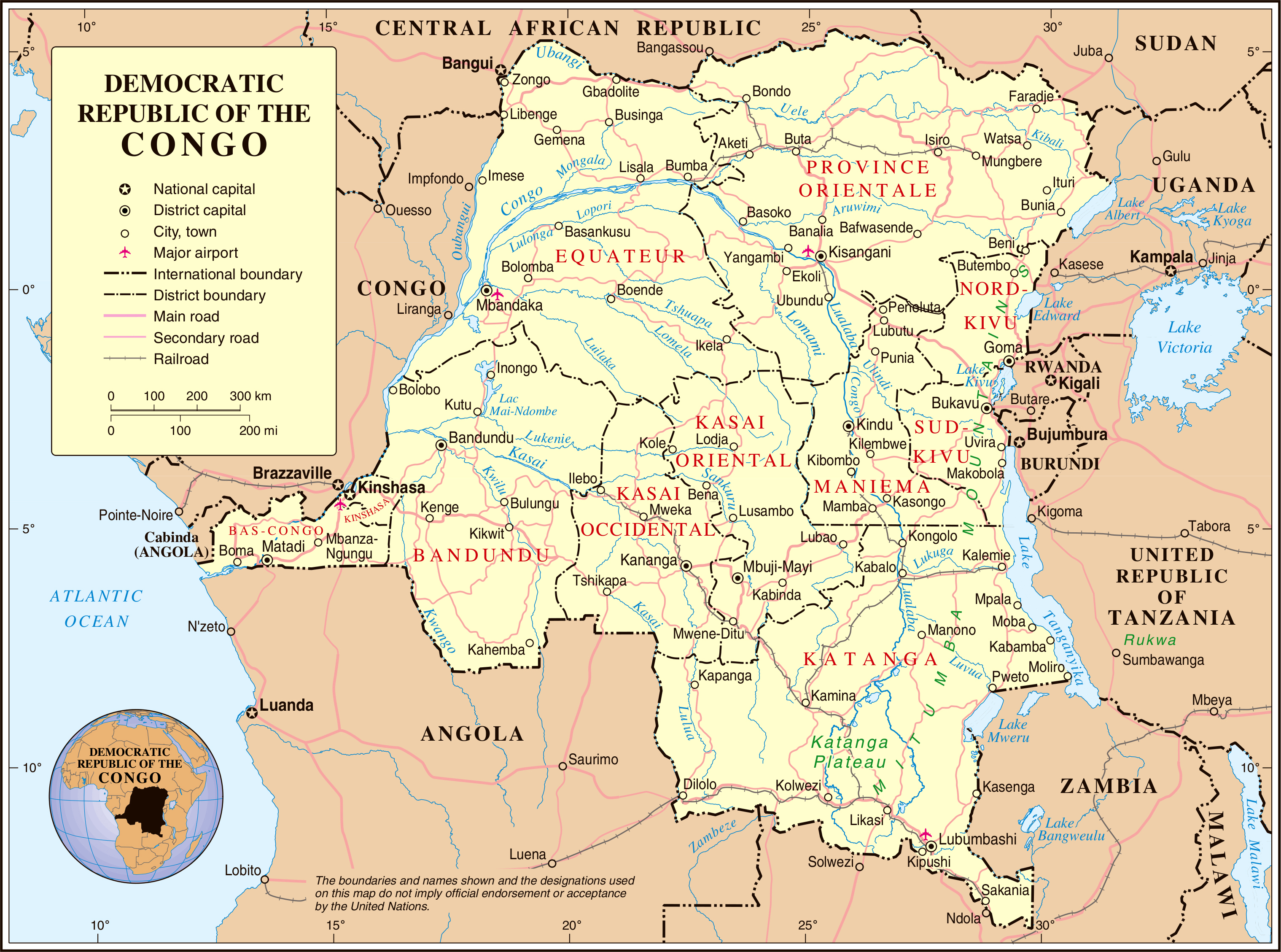 ... - Republic Of Congo Powerpoint Map Background Democratic Republic Of