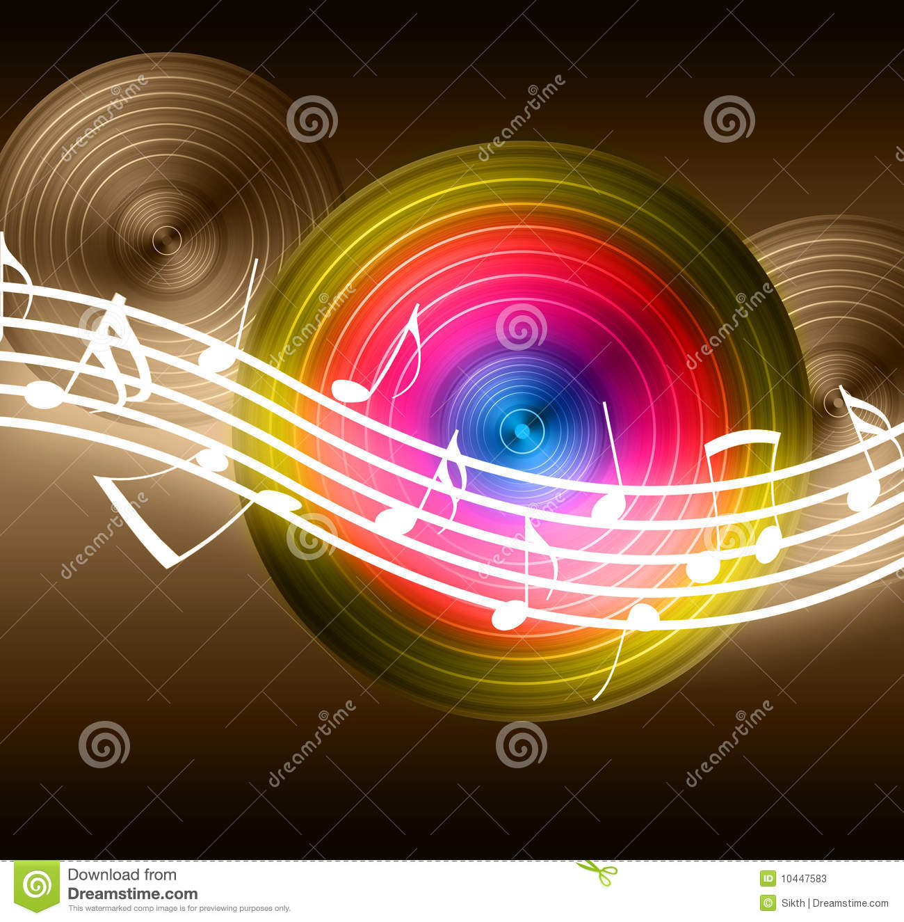 White flowing music notes on vinyl record background. Please visit my ...