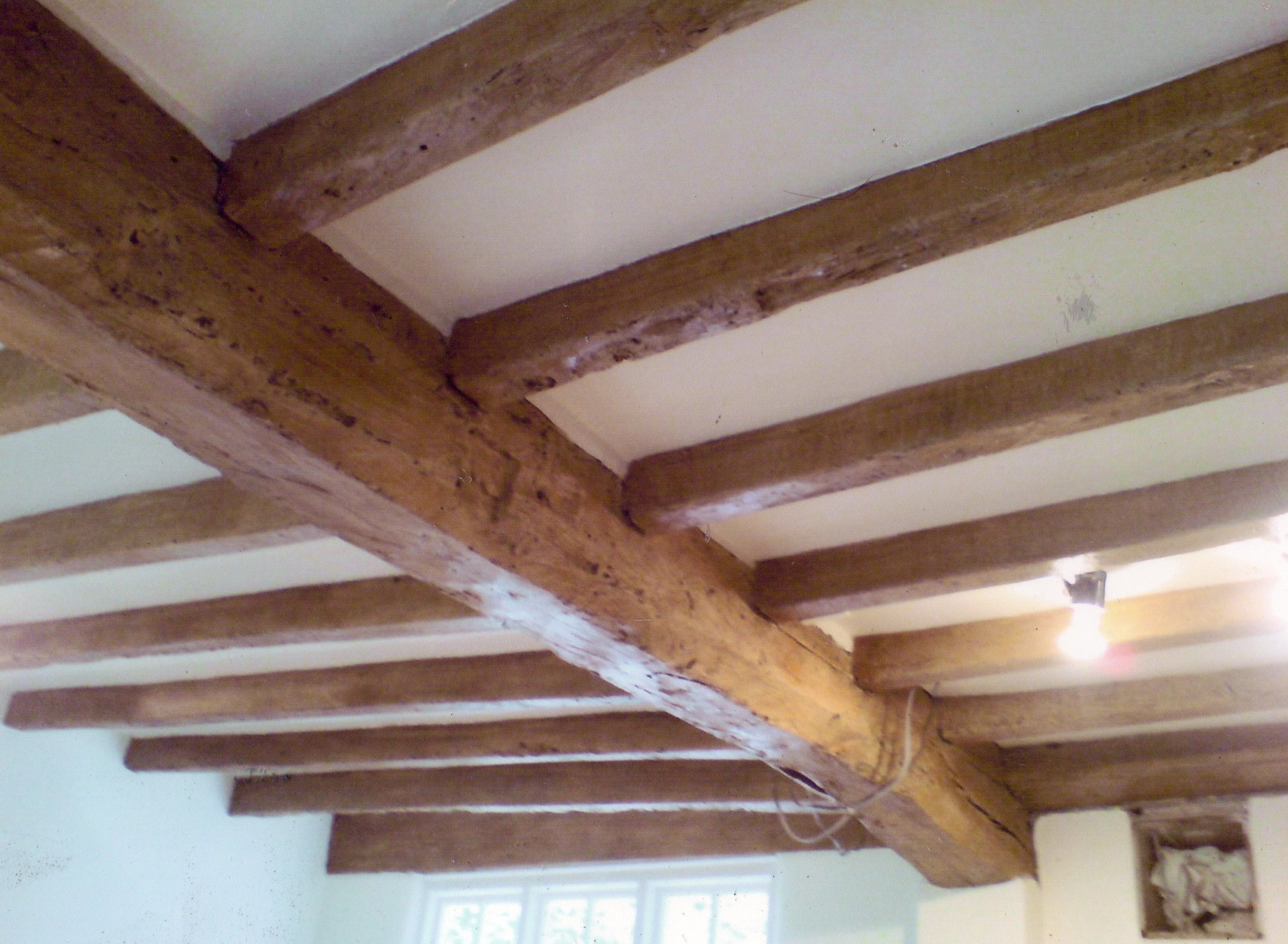 Faux bois ceiling beams-wood graining.