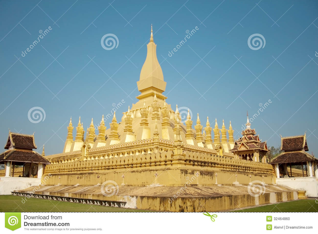 Wat Thap Luang in Vientiane, Laos on blue sky background.