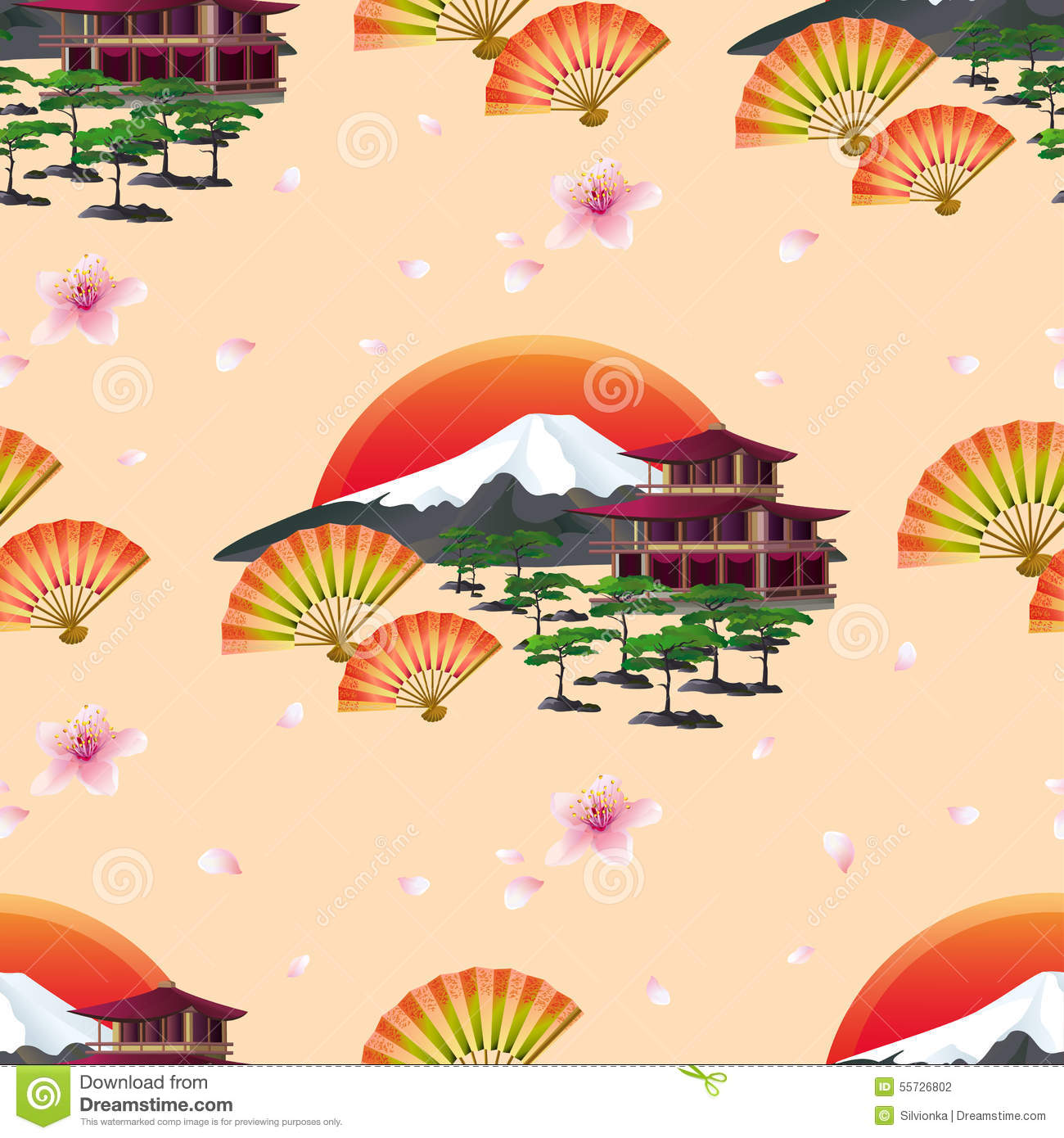... fans and traditional japanese house. Floral spring wallpaper. Graphic
