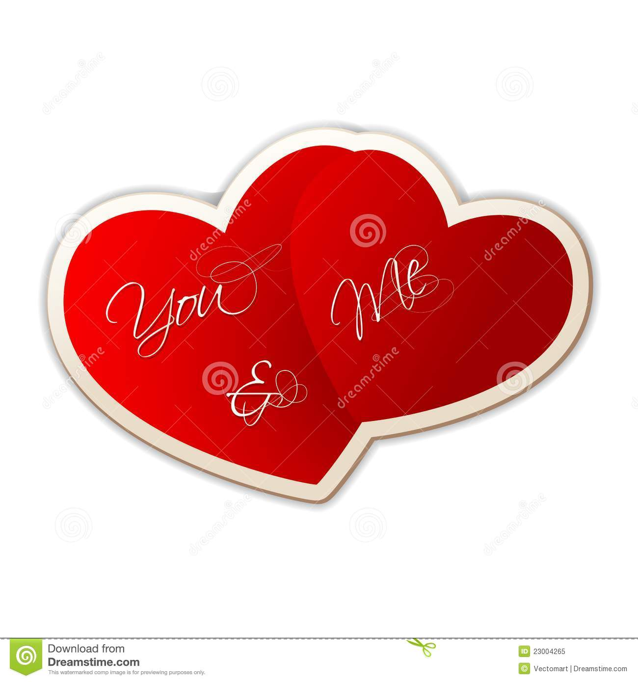 Illustration of you and me on heart shape sticker on love background.