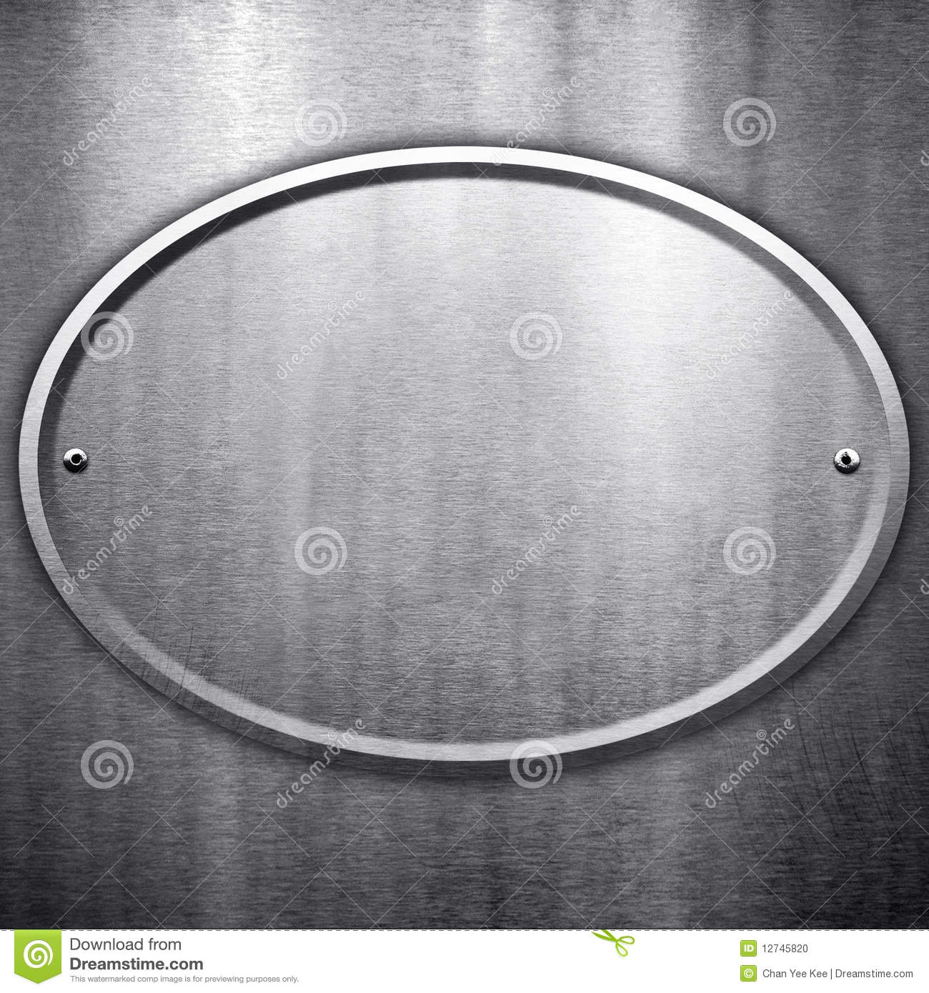 Oval Metal Plate Background Stock Photo - Image: 12745820
