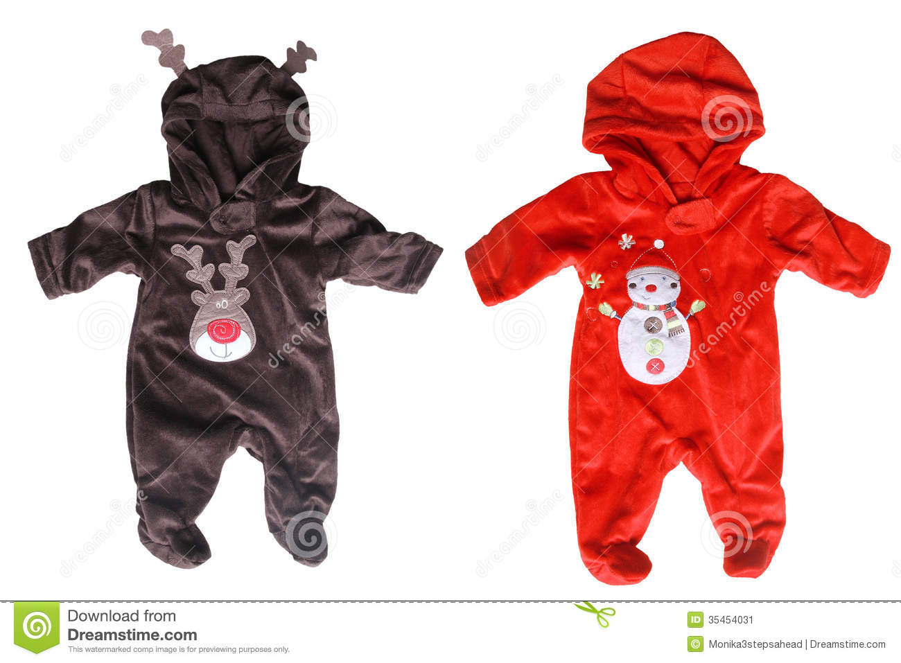 Winter babies overalls for christmas - isolated on white background.