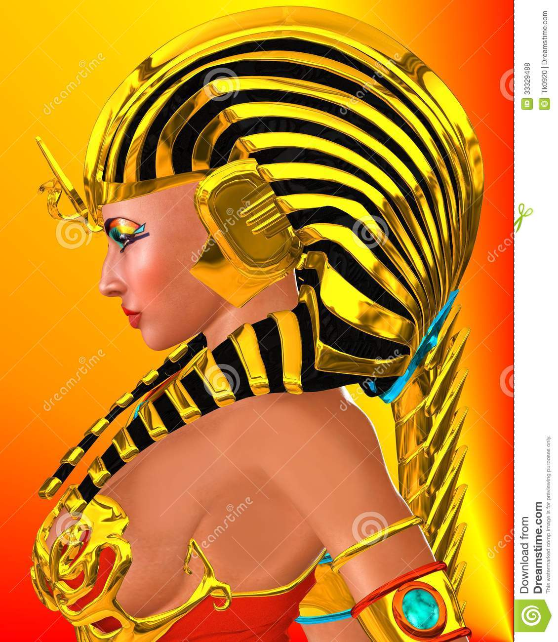 ... woman Pharaoh Queen on abstract orange and red background. Artistic