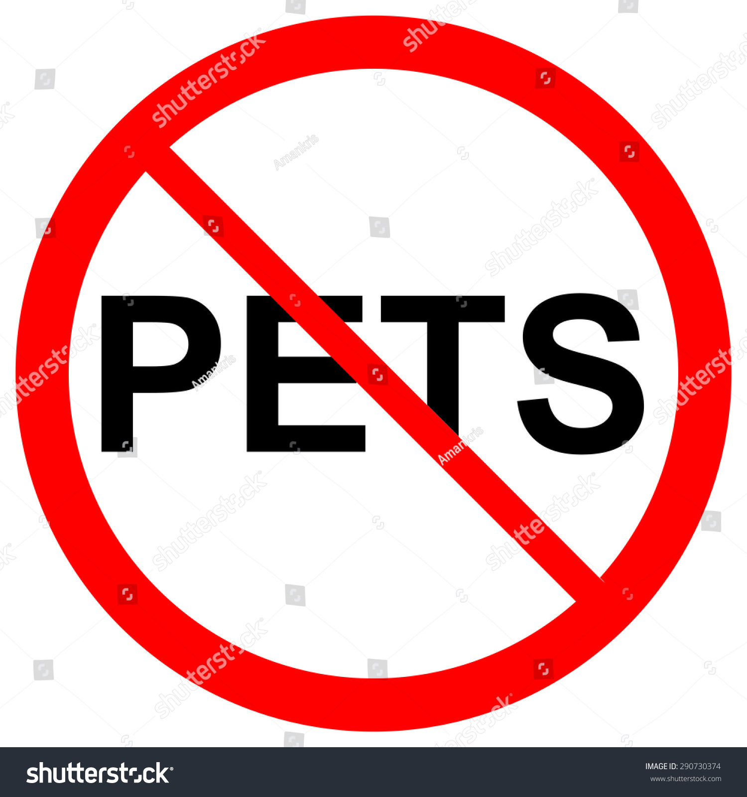 No Pets Allowed Sign Symbol On White Background Stock Photo 290730374 ...