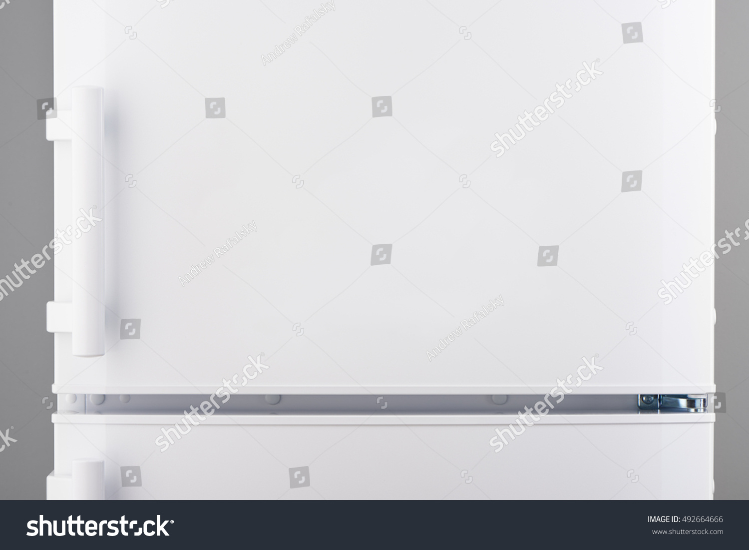 White Refrigerator On Gray Background Stock Photo 492664666 ...