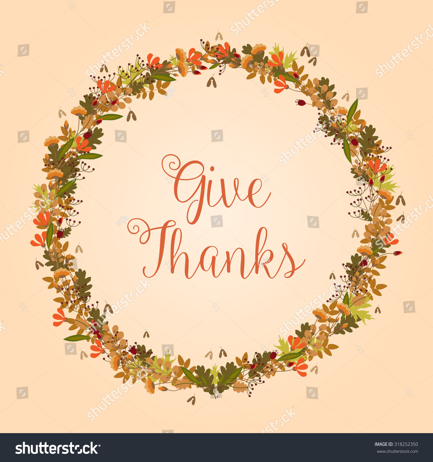 Give Thanks - Thanksgiving, Fall illustration - vector background ...