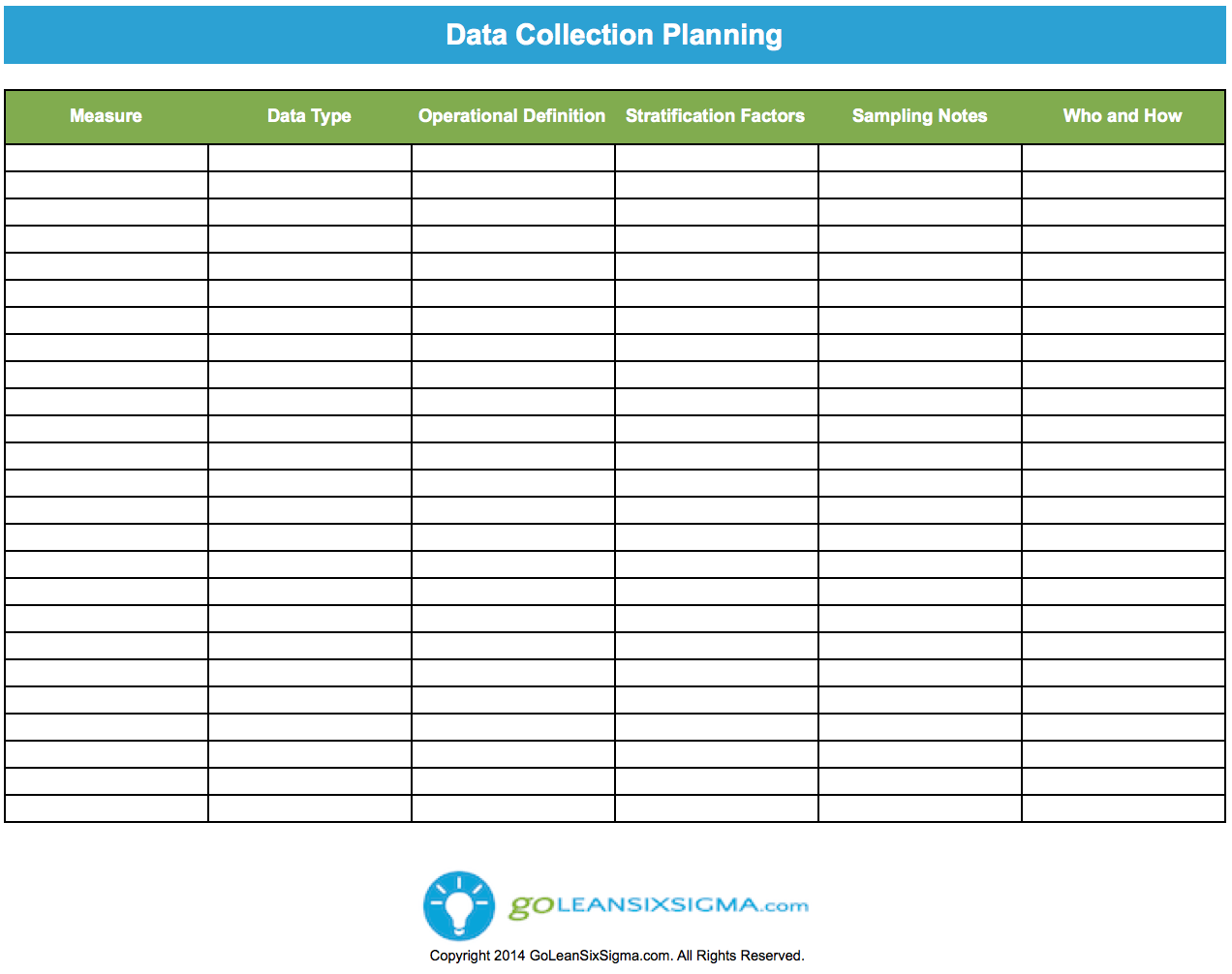 Six Sigma Data Collection Plan Template My Wallpaper
