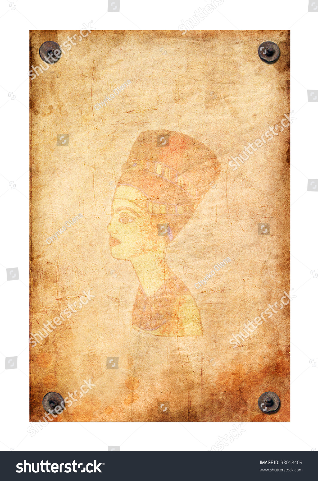 ... with queen Nefertiti pattern attached with nails on a white background