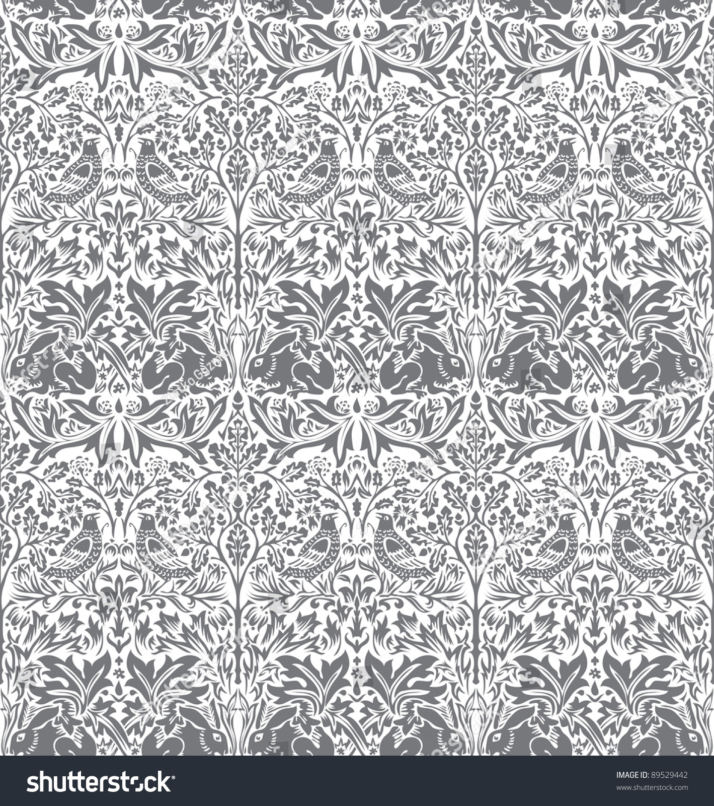 Vector Hand Drawn Wallpaper With Dove And Rabbit - 89529442 ...
