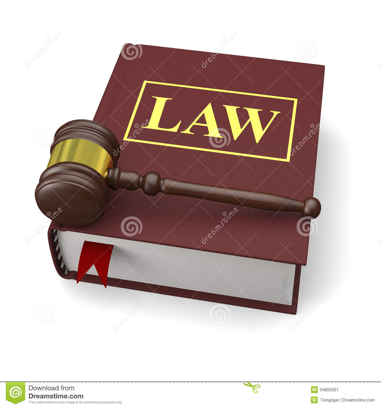 Gavel and law book on white background, symbols of law and justice.