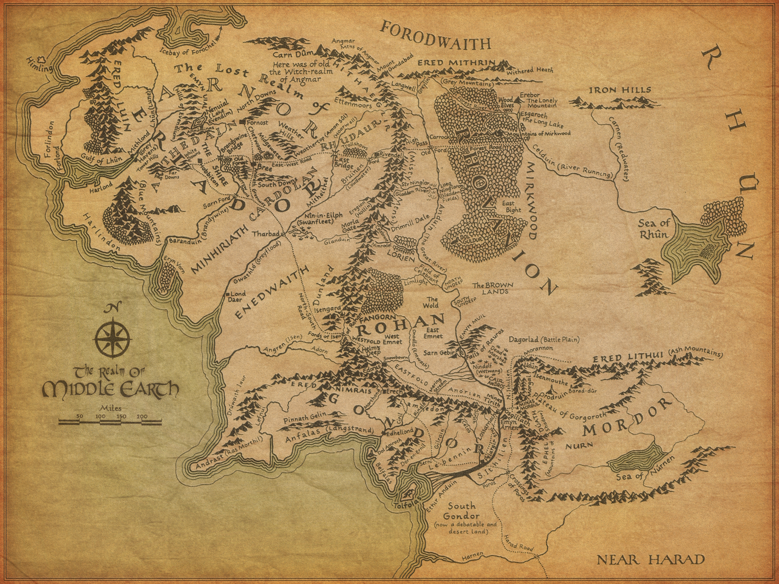 The Lord of the Rings maps Middle-earth wallpaper | 1600x1200 | 227453 ...