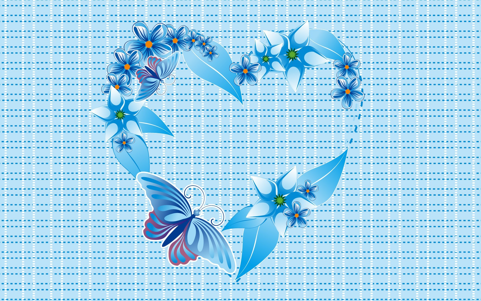 The blue heart of butterflies and flowers wallpapers and images ...
