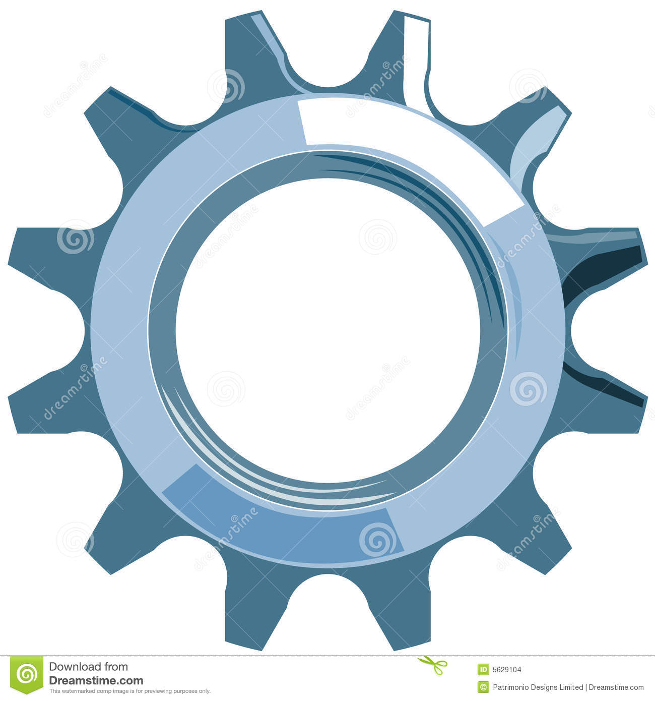 Vector art of cog or gear isolated on white background.