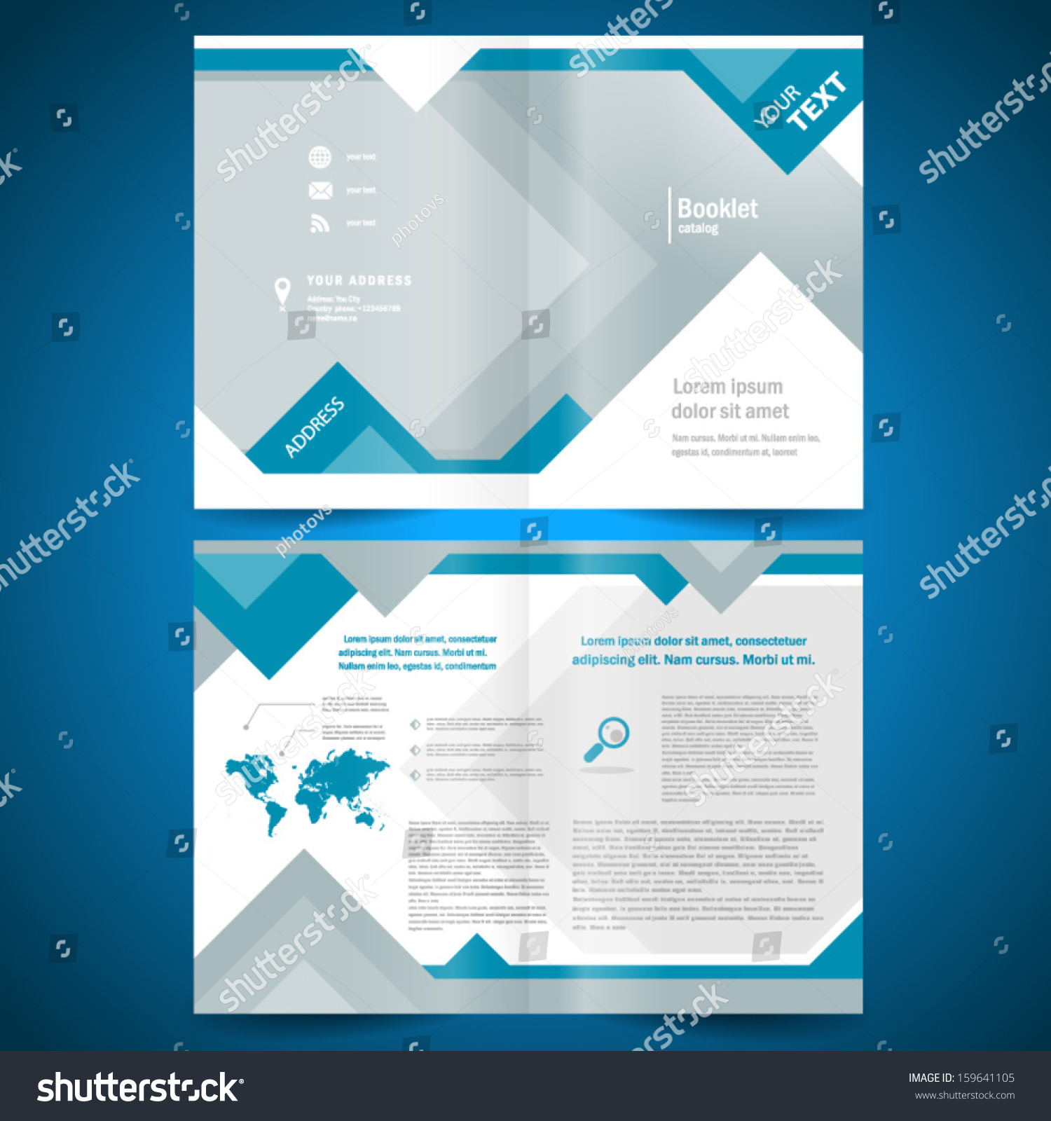 booklet template design catalog brochure folder geometric triangle ...
