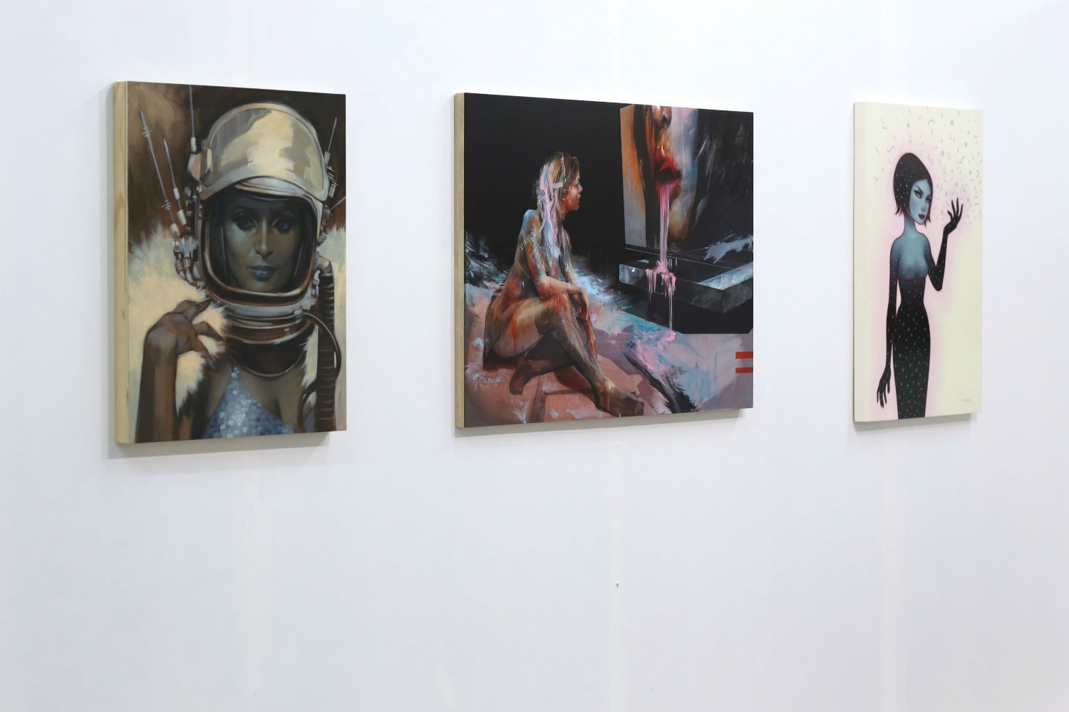 Installation shot of A Conversation Between Friends . From left to ...