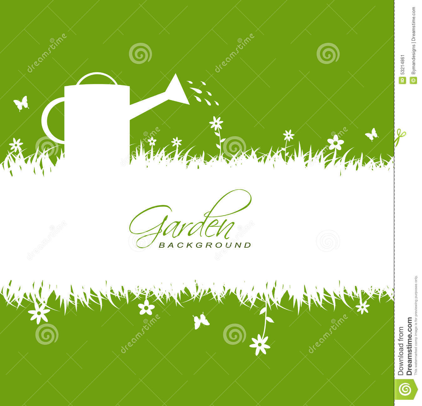 Garden background with grass,flowers,butterflies ,watering can and hoe ...