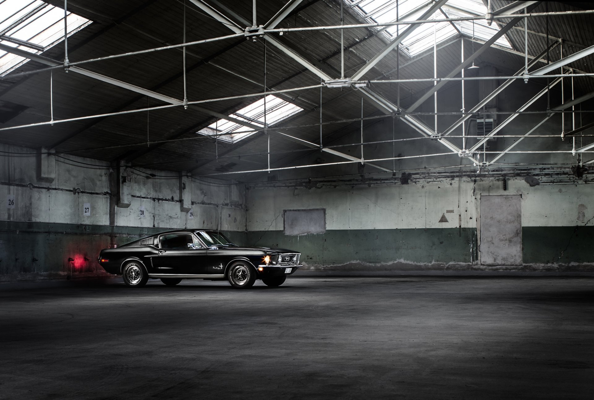 ford mustang fastback classic muscle car black warehouse HD wallpaper
