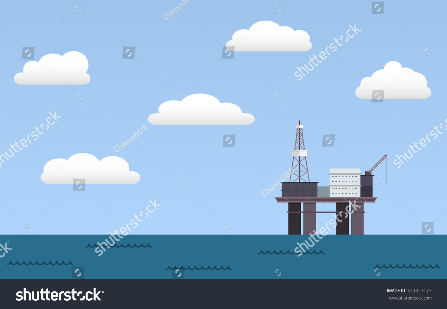 Ocean offshore oil rig drilling platform in flat icon design and blue ...