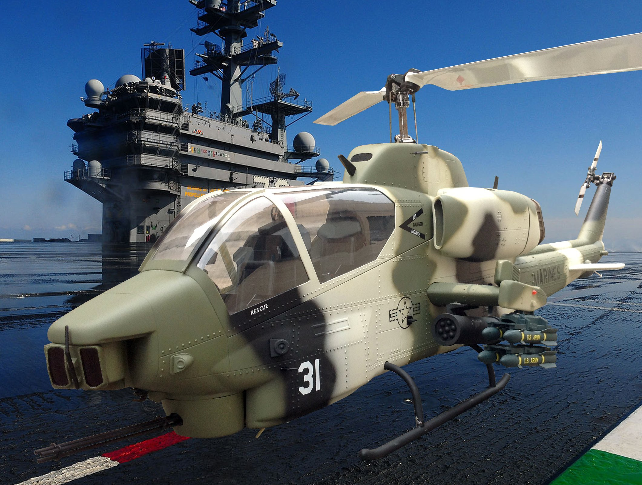 AH-1W SUPER COBRA attack helicopter military weapon aircraft (44 ...