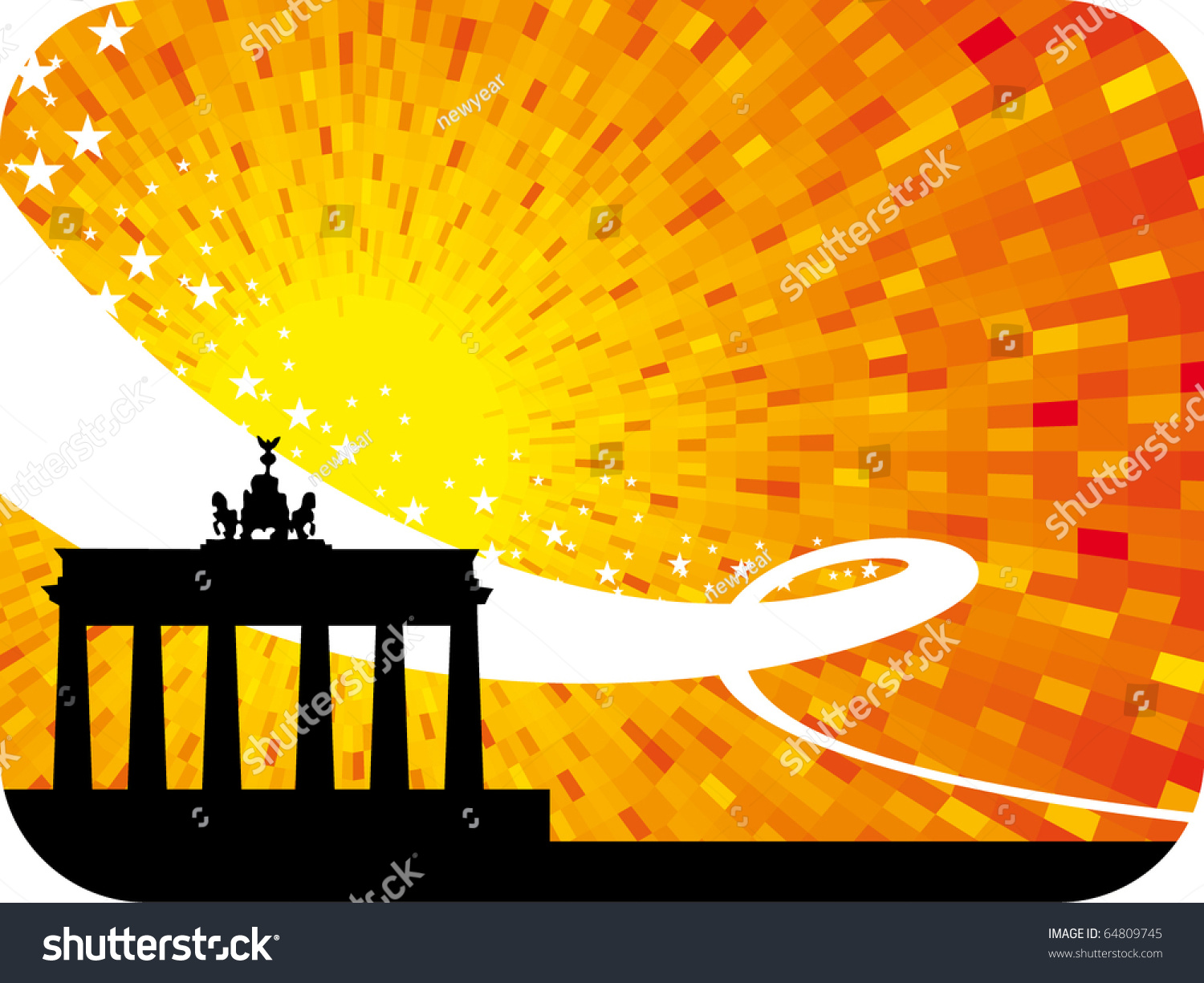 ... city orange shine sunset background with black silhouette of city