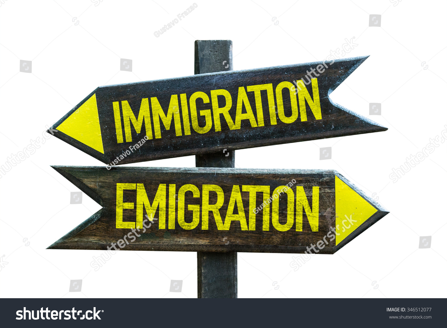 Immigration - Emigration Signpost Isolated On White Background Stock ...