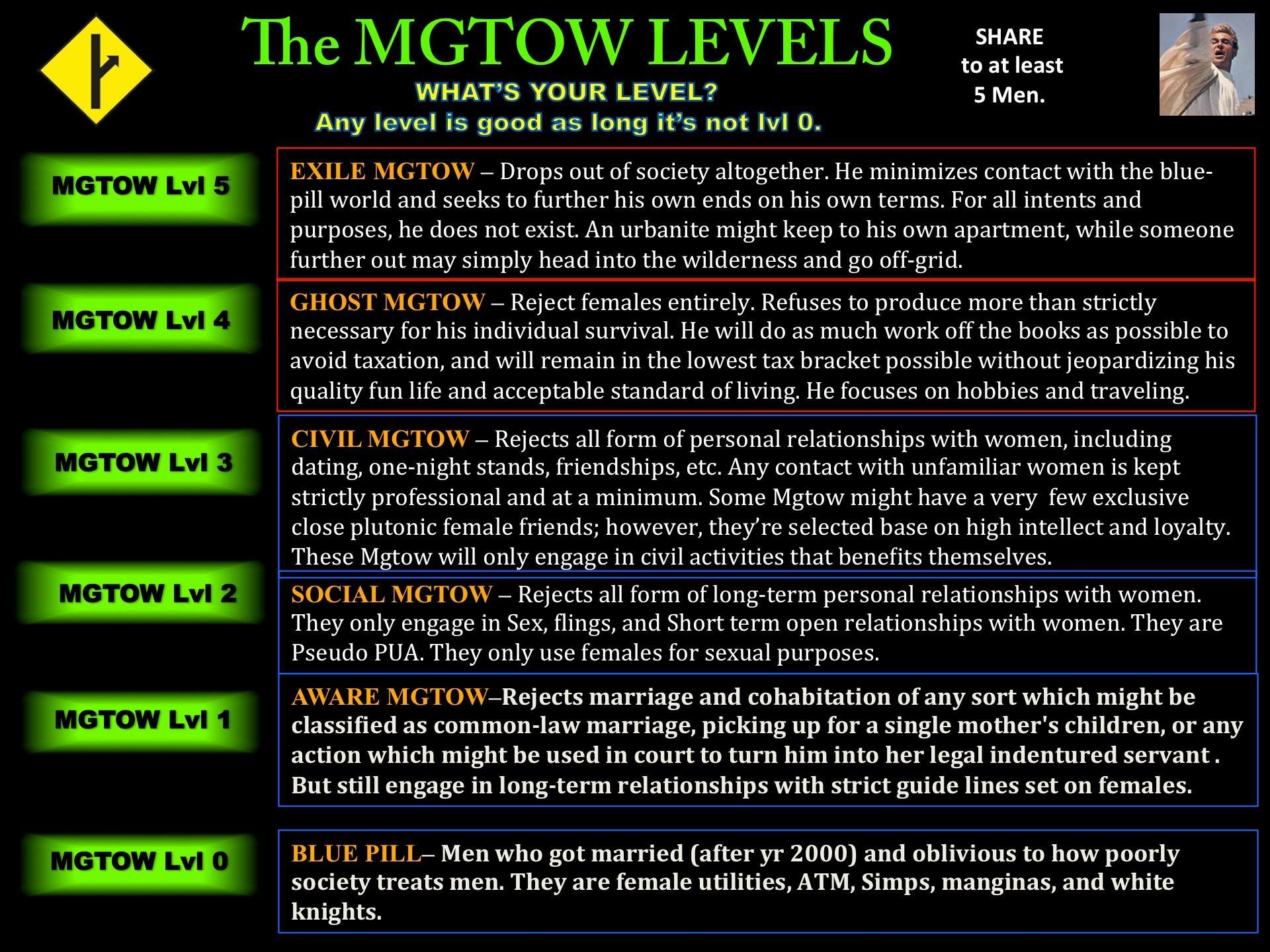 MGTOW Levels. | MGTOW: Men Going Their Own Way | Pinterest