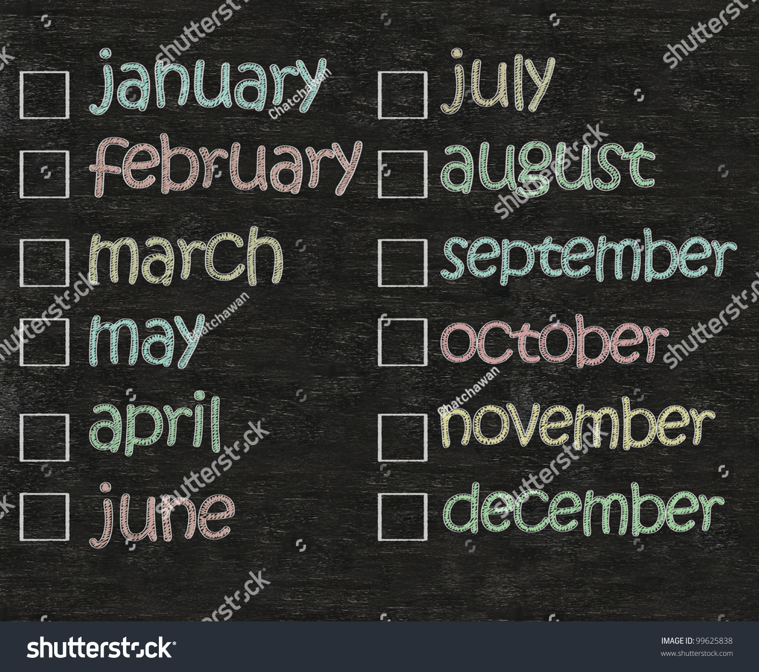 months of the year written on blackboard background with blank box ...