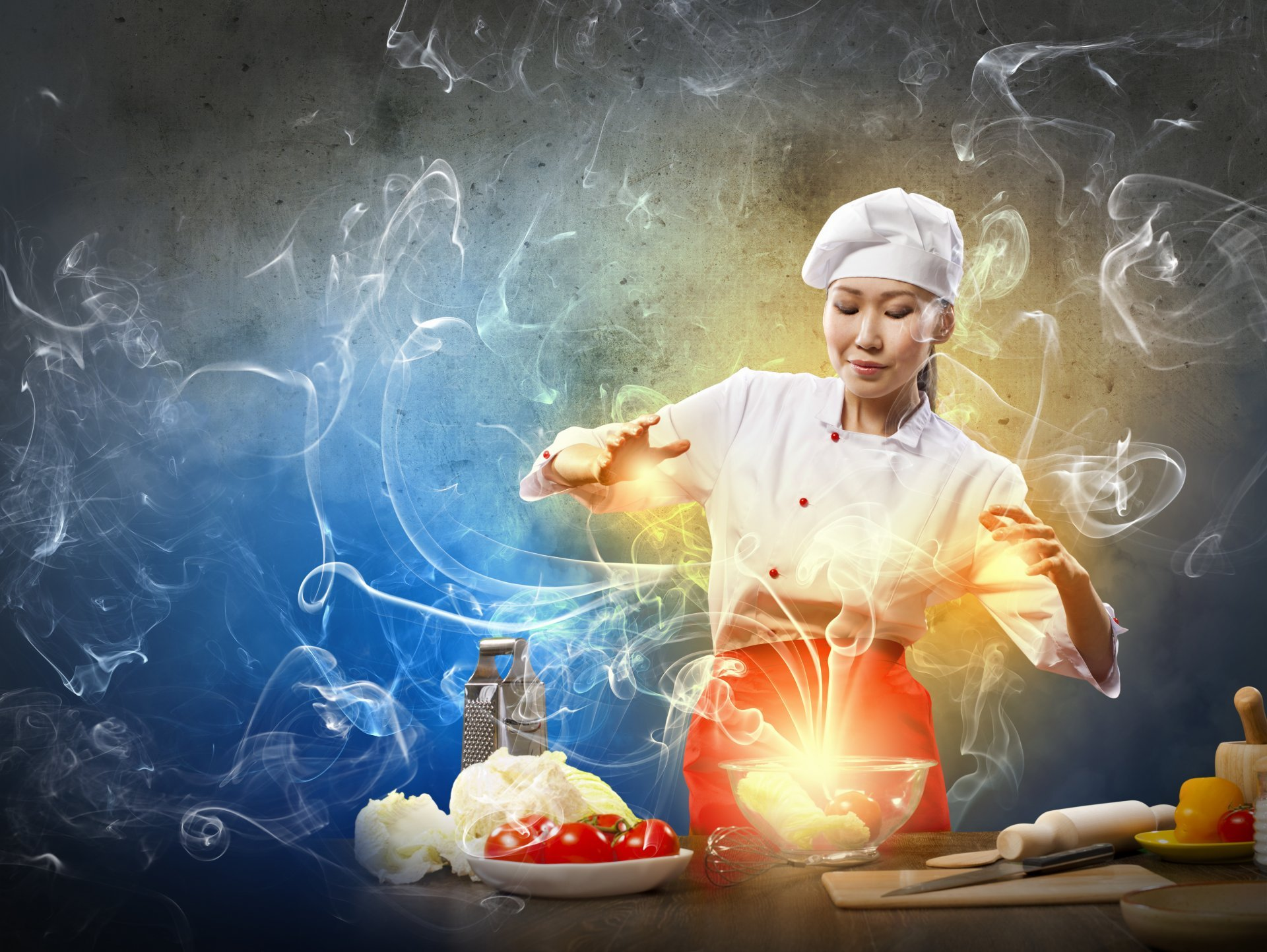 creative cook girl asian food smoke vegetables cabbage grater tomatoes ...