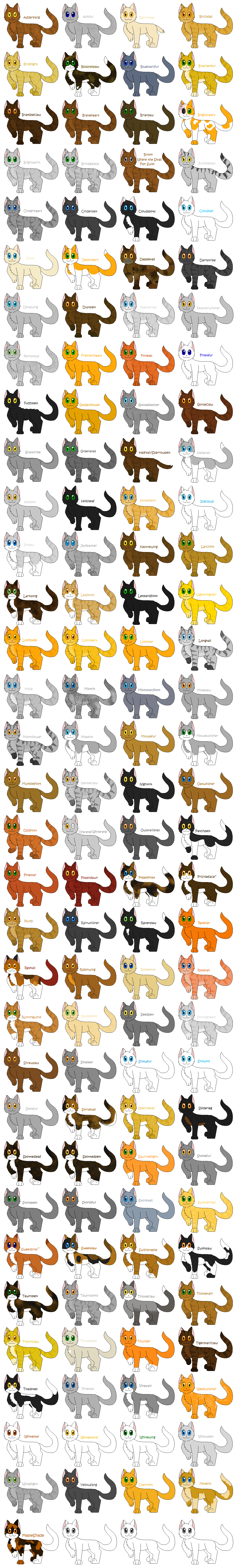 Every Known Thunderclan cat by cinderspark on DeviantArt