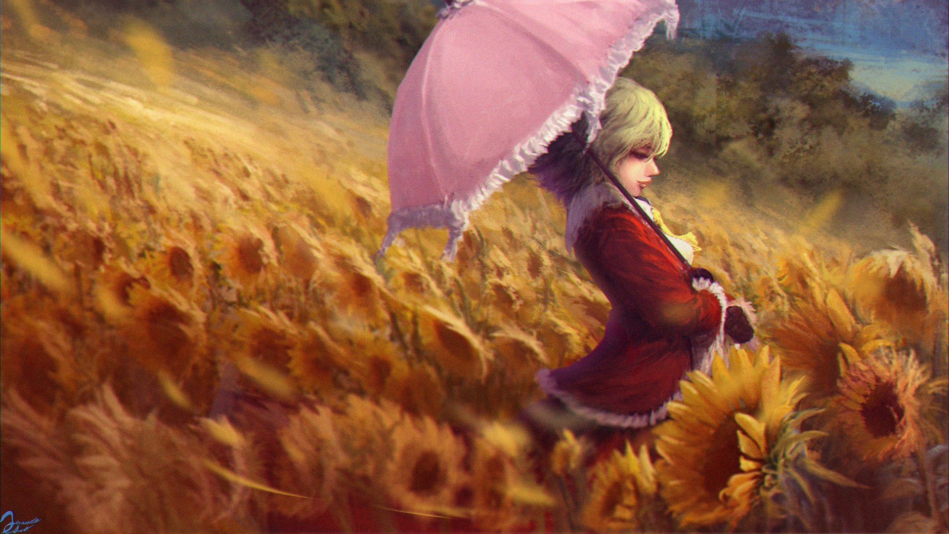 Touhou Kazami Yuuka Yellow Flower Sunflower wallpaper | 1920x1081 ...