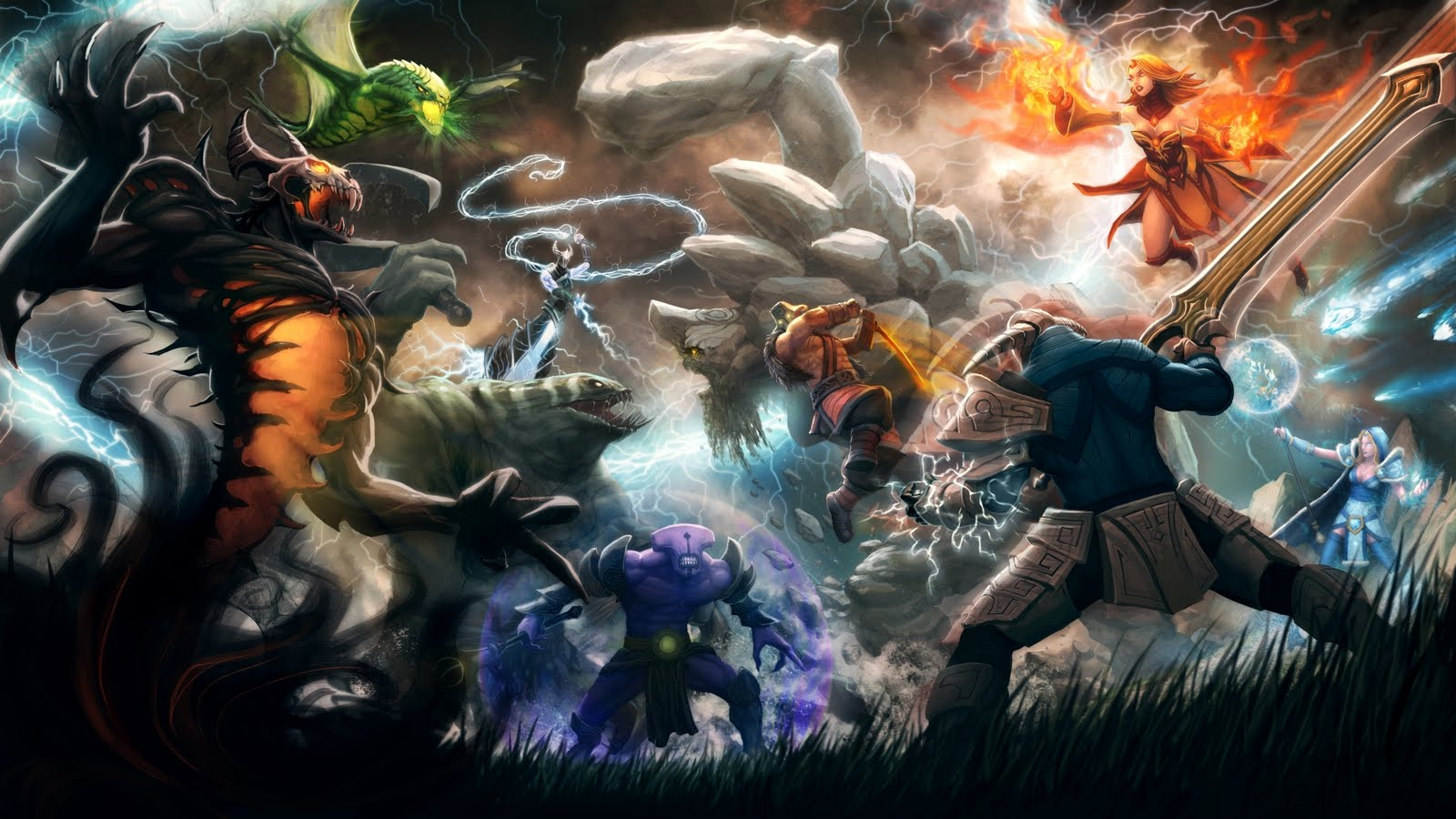 Download Dota 2 Wallpaper With Dota Heroes