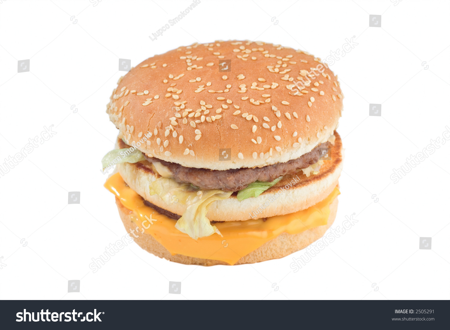 Close Up Of A Cheeseburger Isolated Against White Background Stock ...